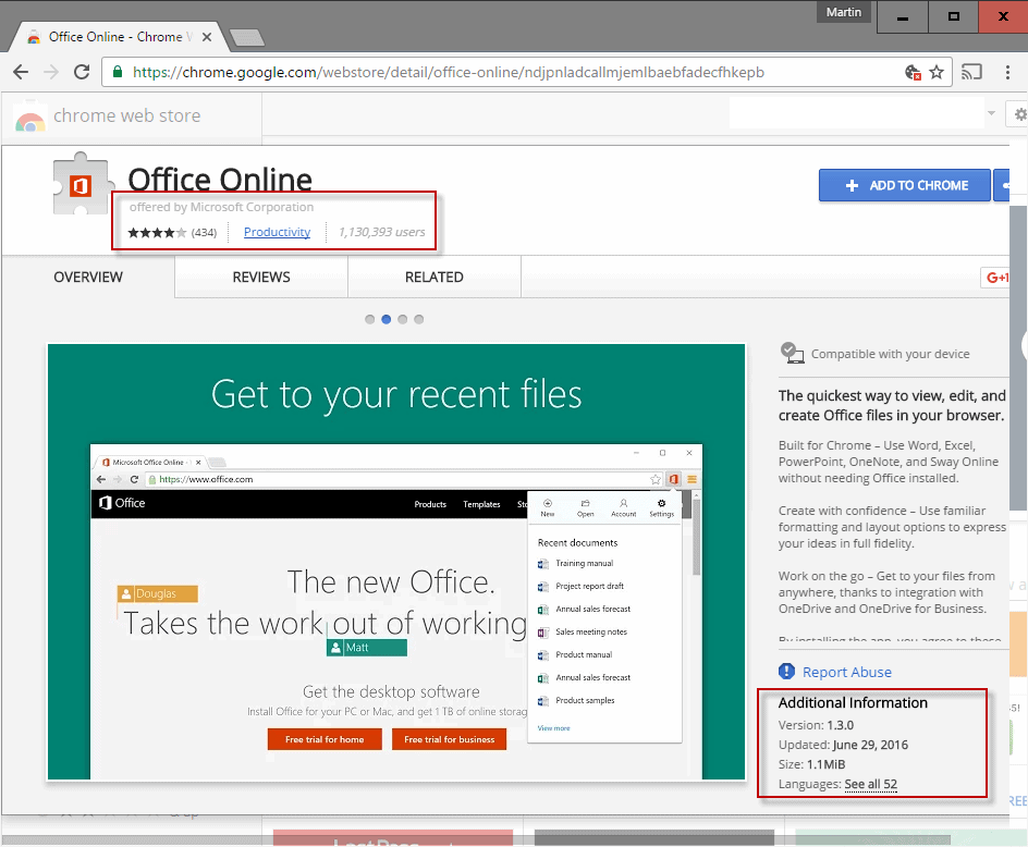 chrome extensions information
