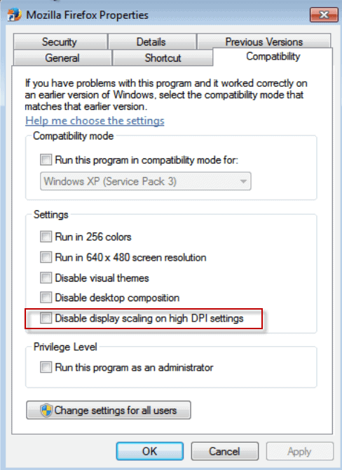 disable display scaling