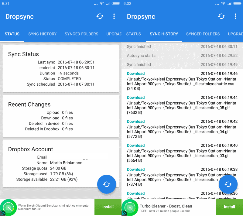 dropbox auto sync files android