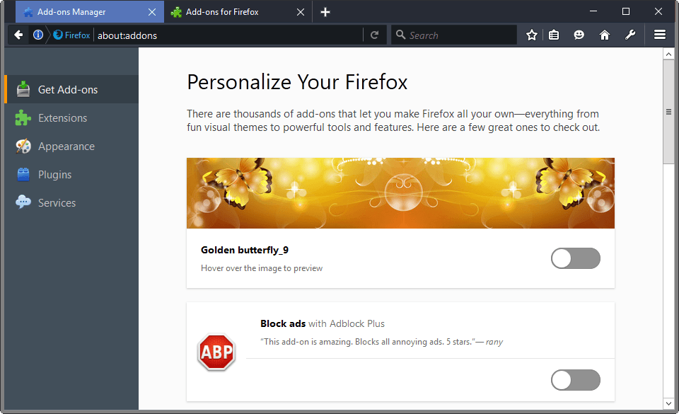 Mozilla tests new Get Add-ons page in Firefox