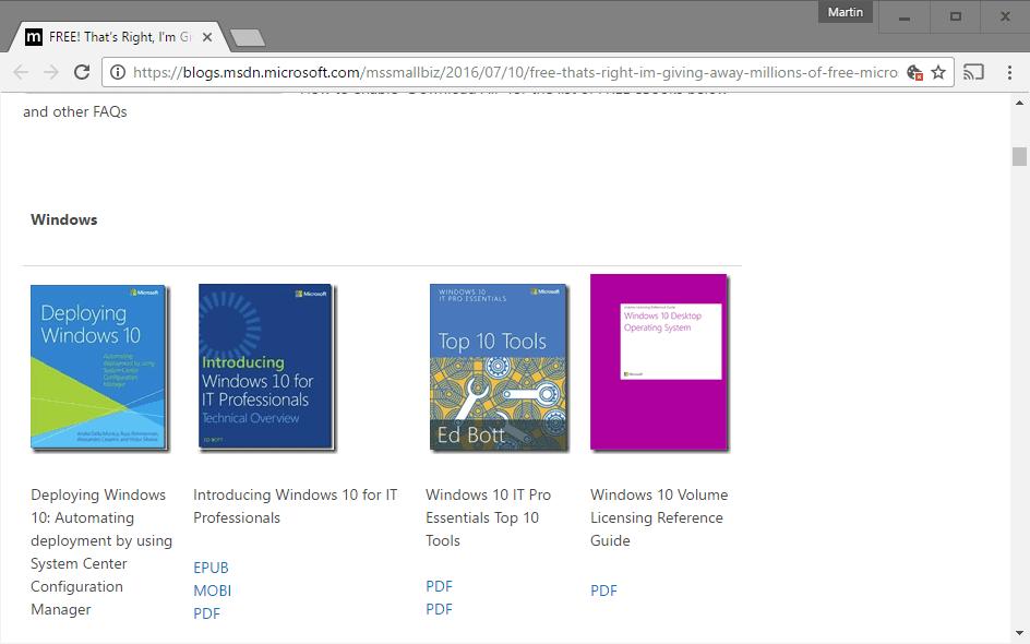 free microsoft ebooks