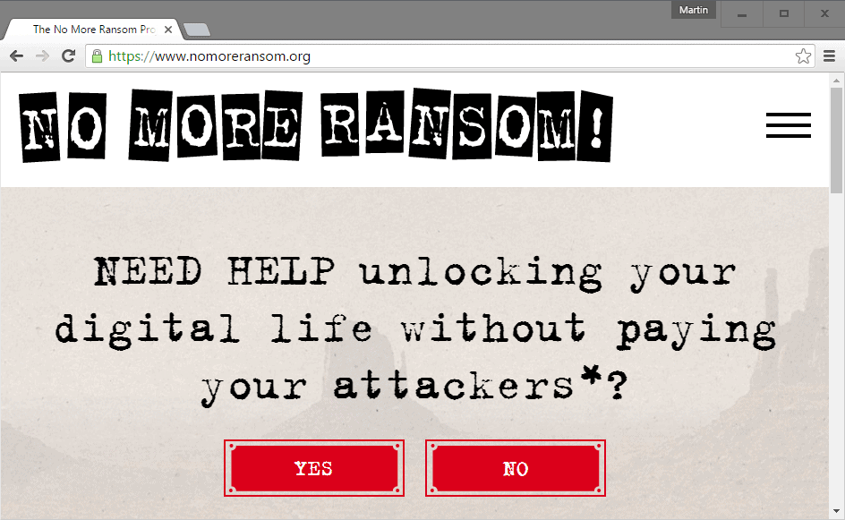 No More Ransom: Anti-Ransomware Help Site