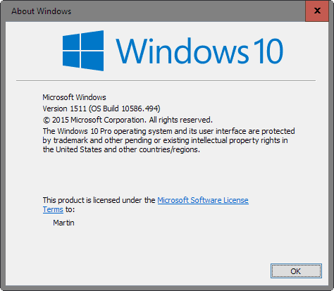 windows 10 version