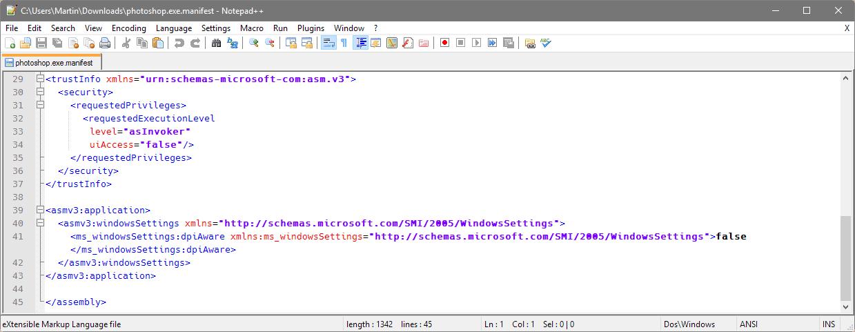 windows manifest file