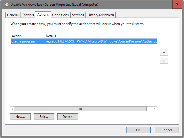 disable windows 10 lock screen action