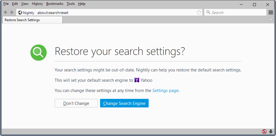 firefox restore search settings