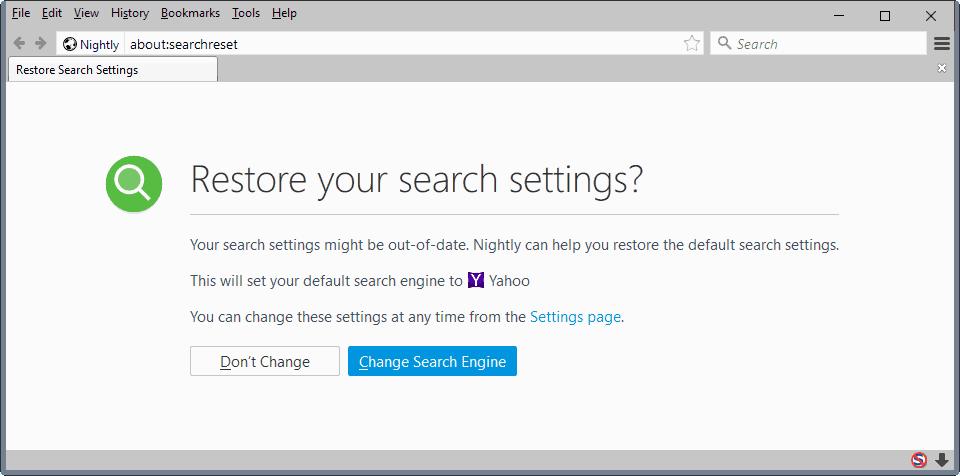 firefox restore search settings