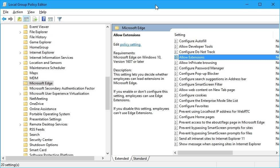 group policy allow extensions