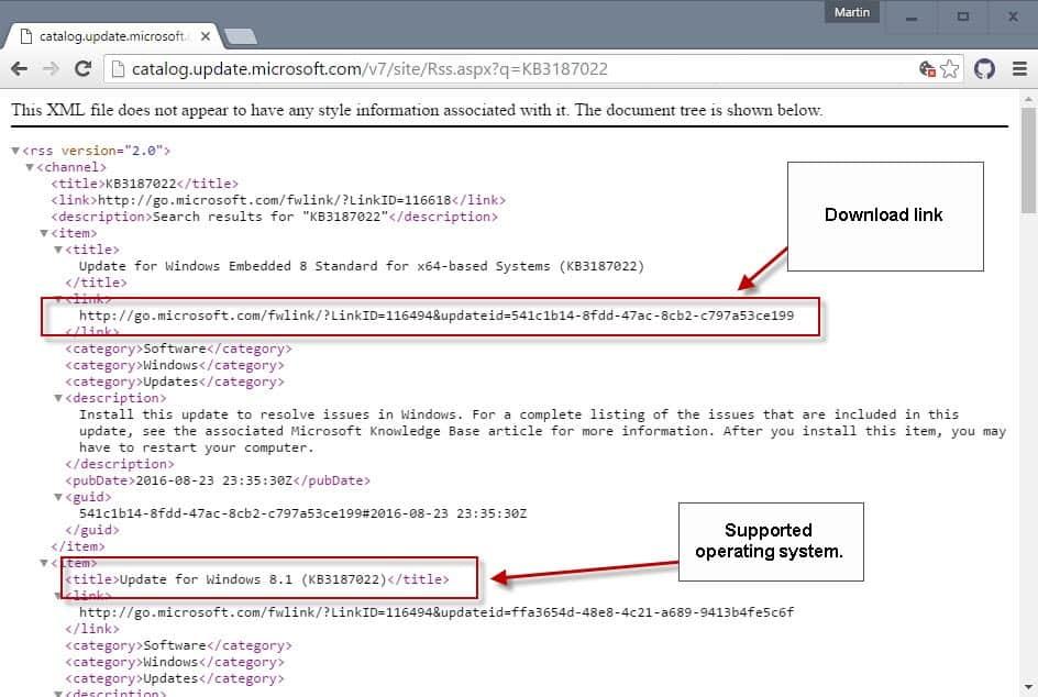 microsoft update catalog links