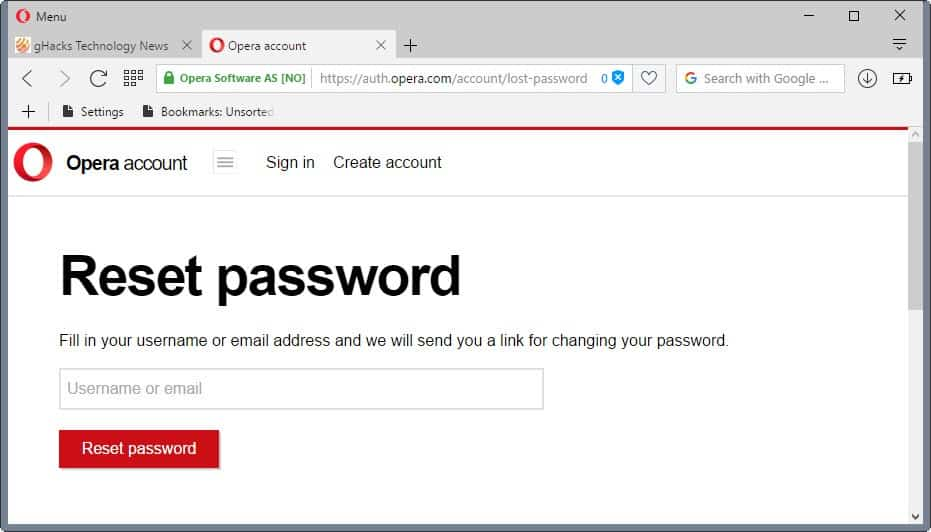 opera sync reset password