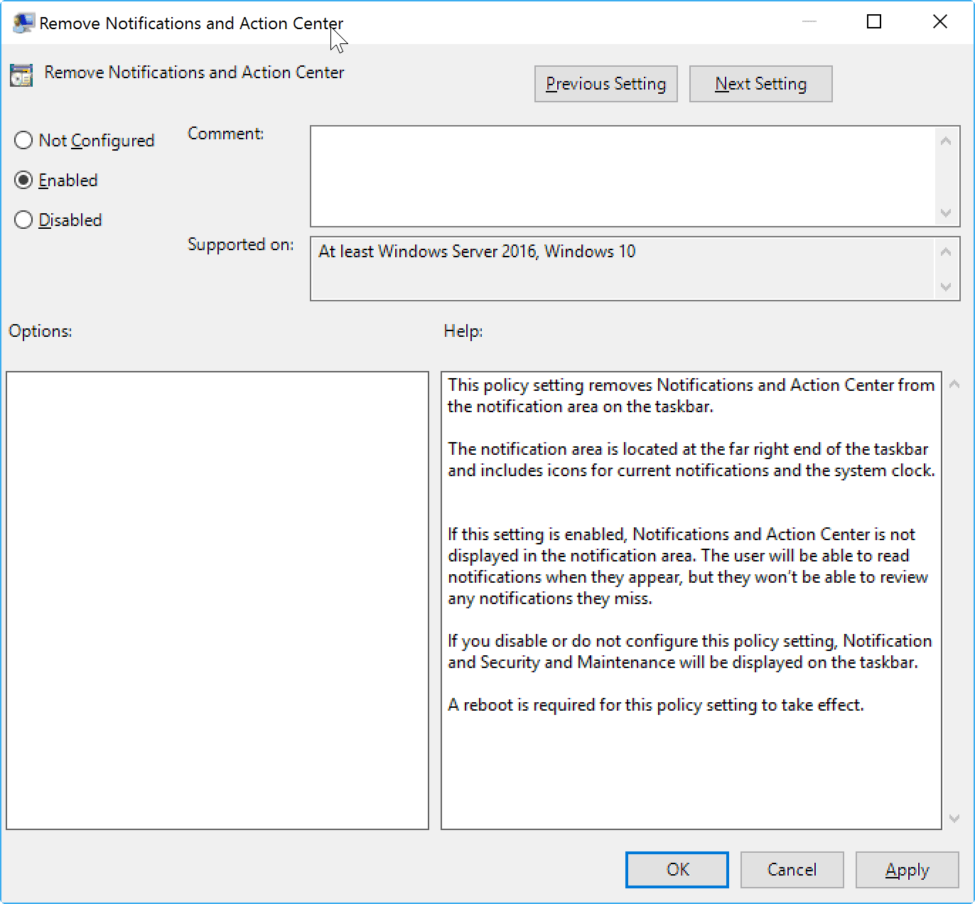 turn off action center notifications