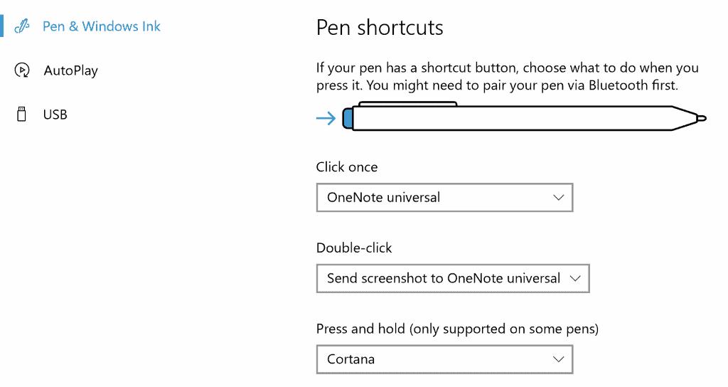 windows 10 pen shortcuts
