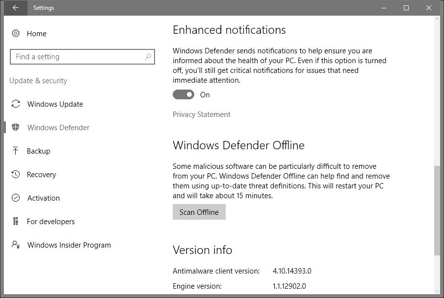 windows defender enhanced notifications