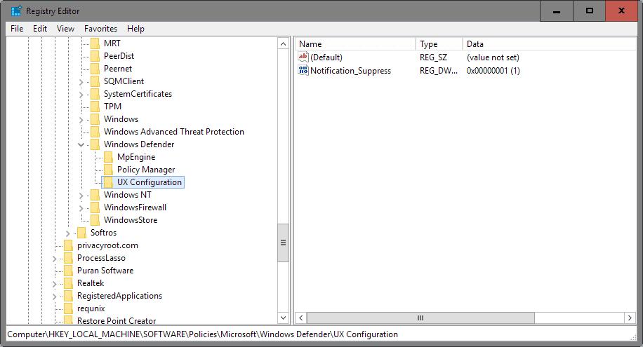 windows defender suppress notifications