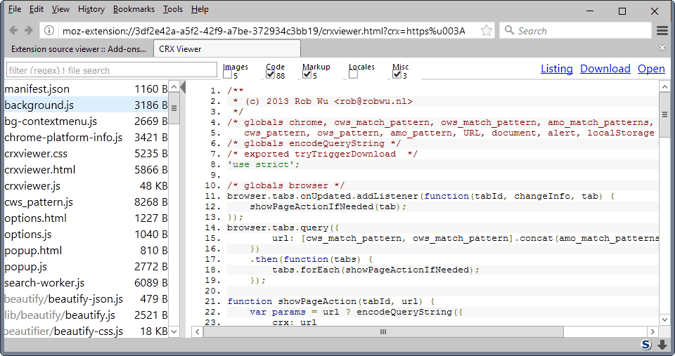 extension source viewer