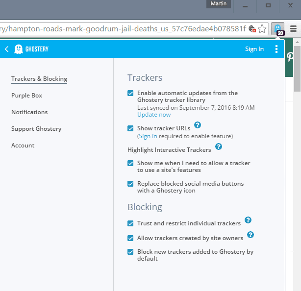 ghostery 7 settings