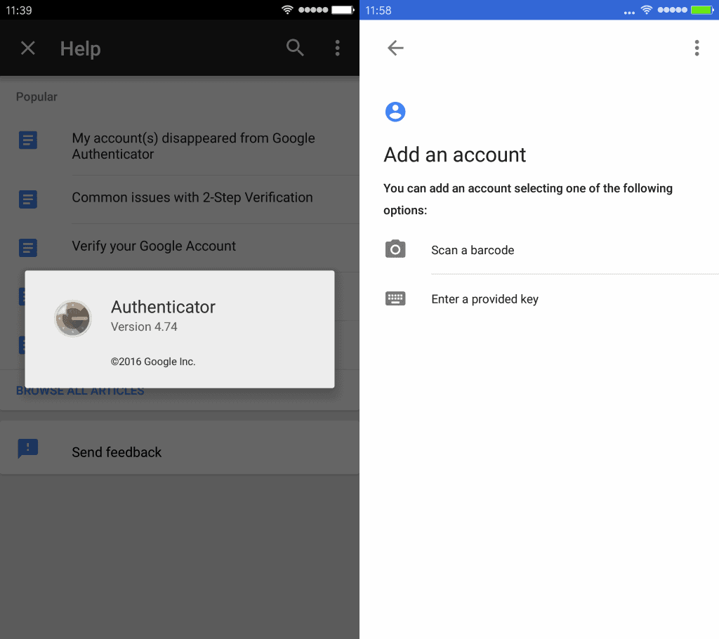 google authenticator 4.74
