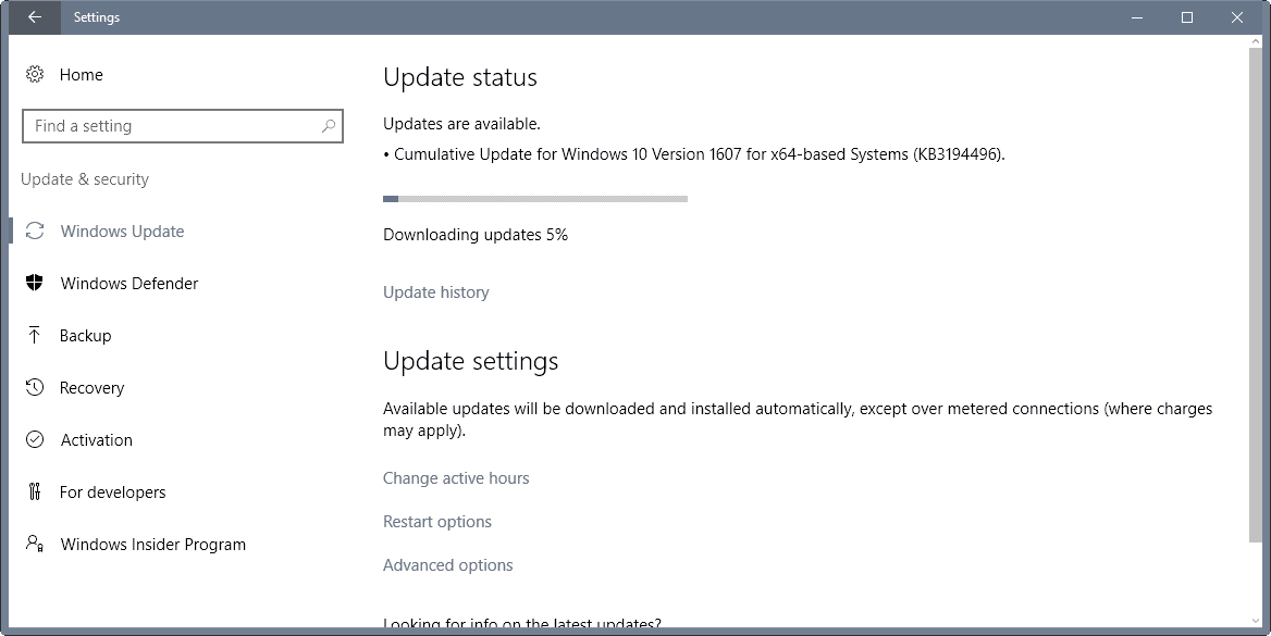 Cumulative Windows 10 Update KB3194496 installation issues