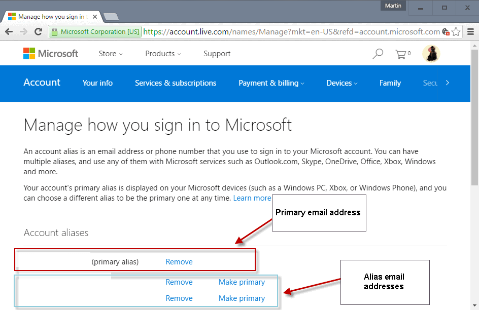 How to change your primary Microsoft Account email