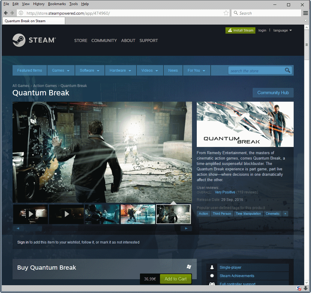 Quantum Break on Steam is cheaper than on Windows Store