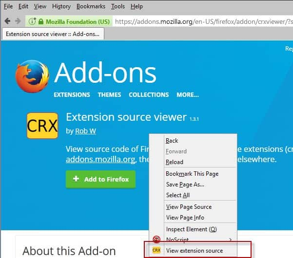 view firefox chrome extension source