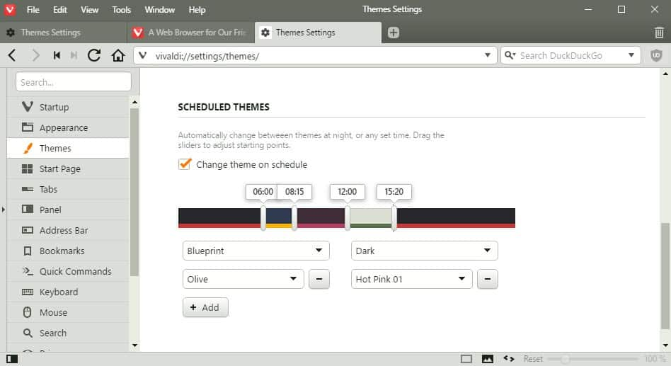 Vivaldi 1.4 gets Theme scheduling
