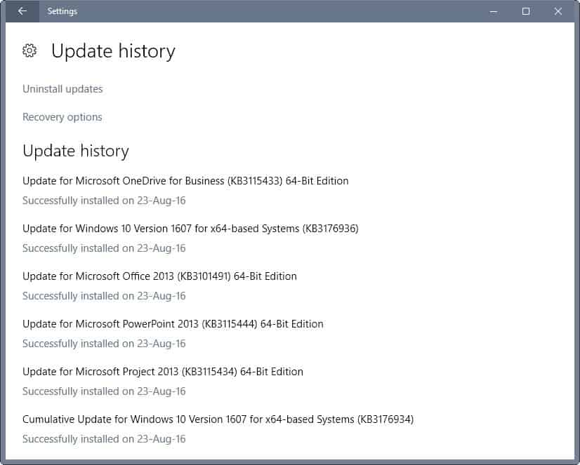 windows 10 current update history