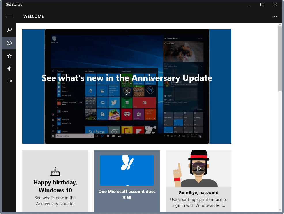 Windows 10: Get Started App