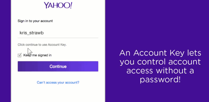 cant sign into yahoo without account key