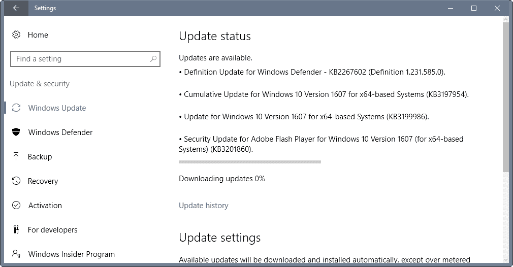 Windows 10 updates KB3197954, KB3199986 and KB3190507