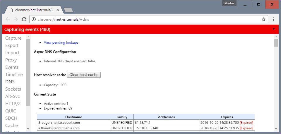 chrome clear host cache