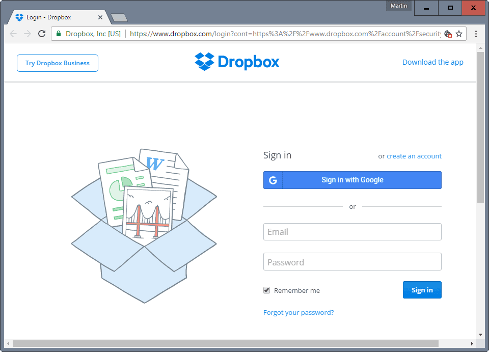 dropbox sign-in google