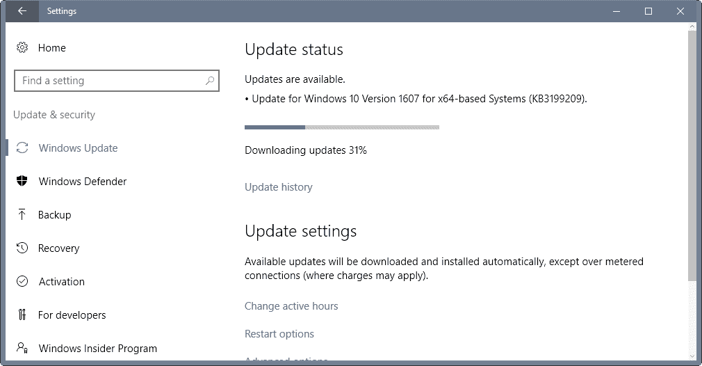 KB3199209 yet another Windows 10 patch without information