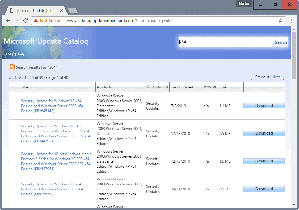 microsoft update catalog any browser