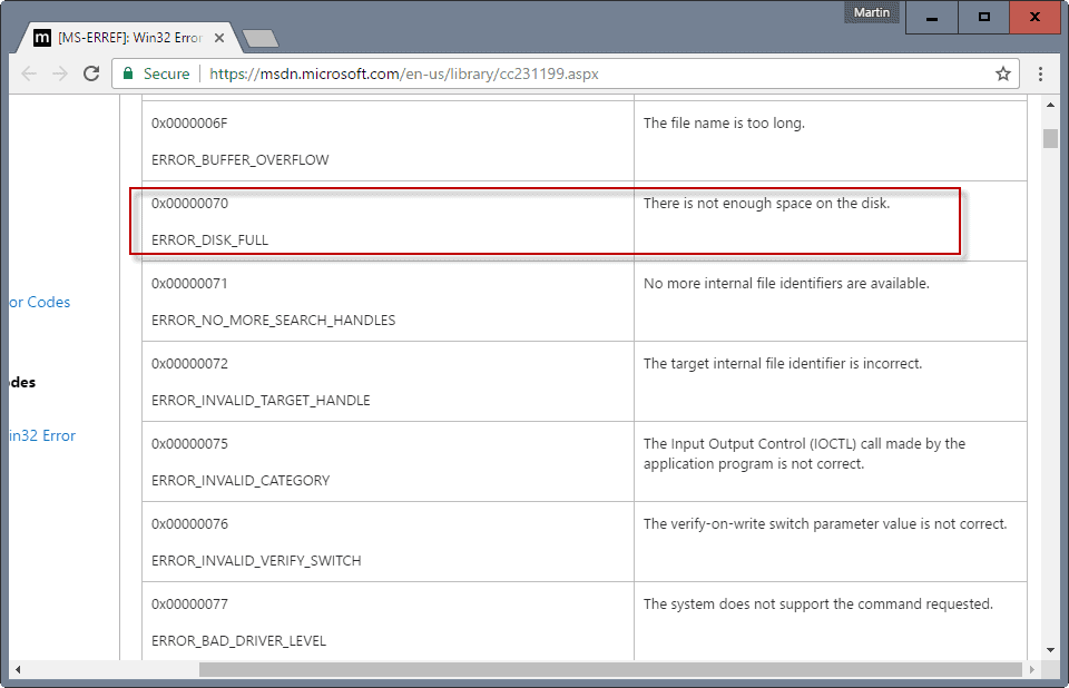 win32 error codes