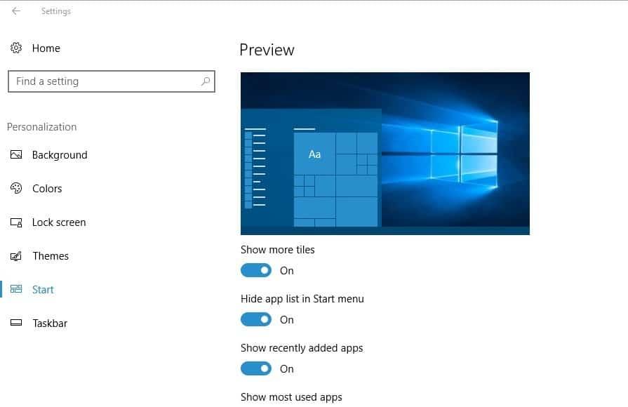windows 10 hide app list