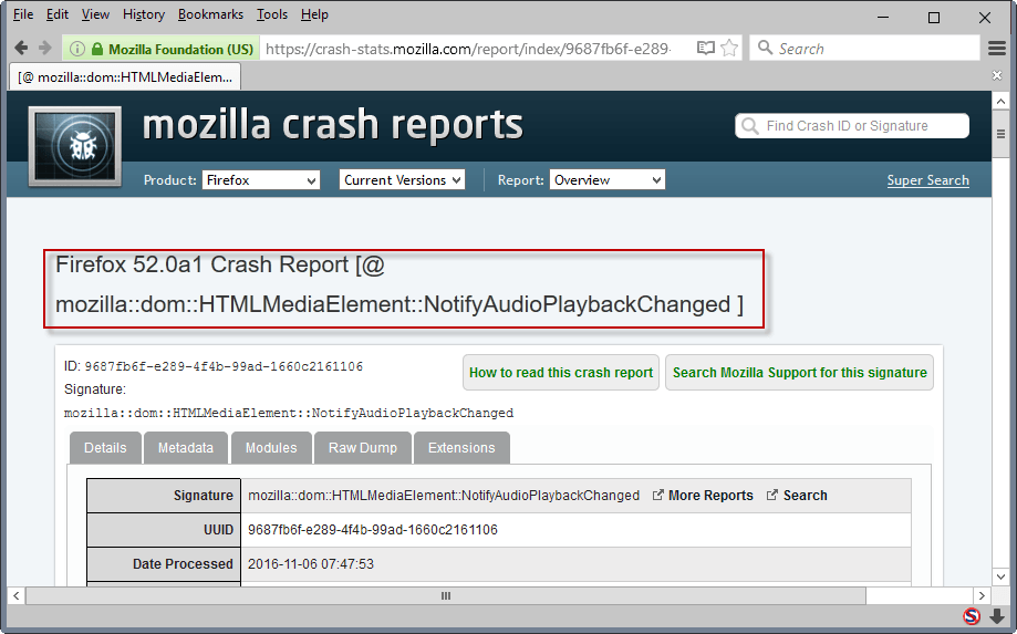 crash reason firefox