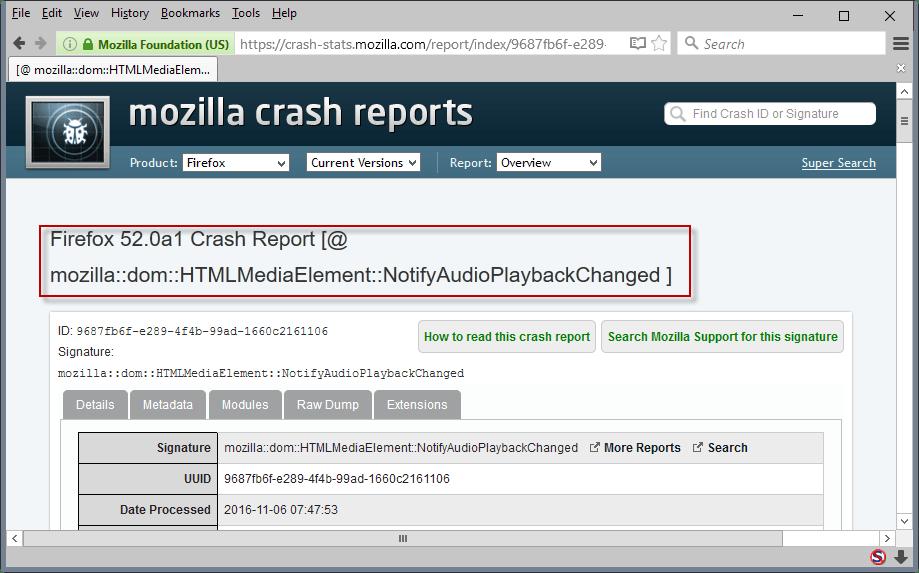crash reason firefox