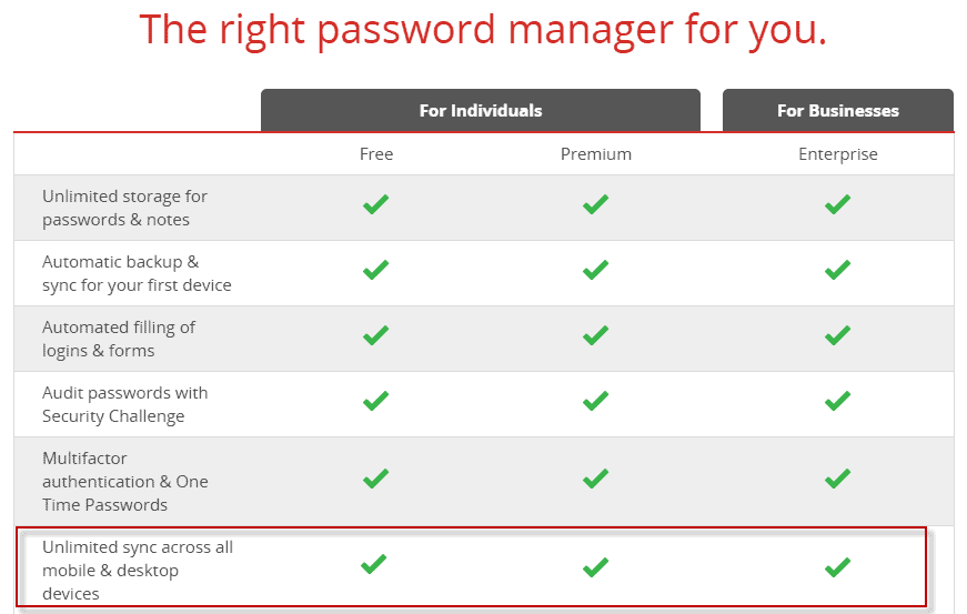 lastpass unlimited sync free