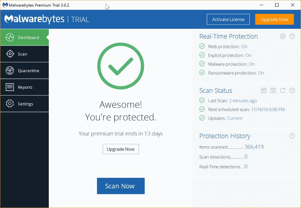 malwarebytes premium interface