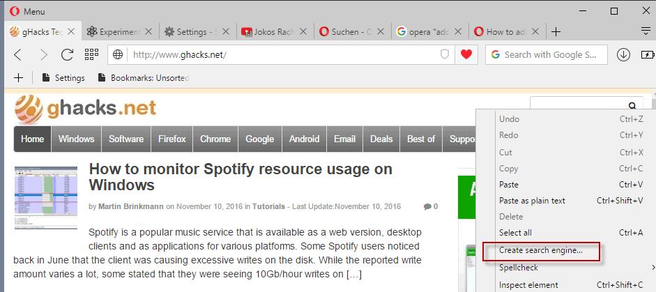 opera create search engine