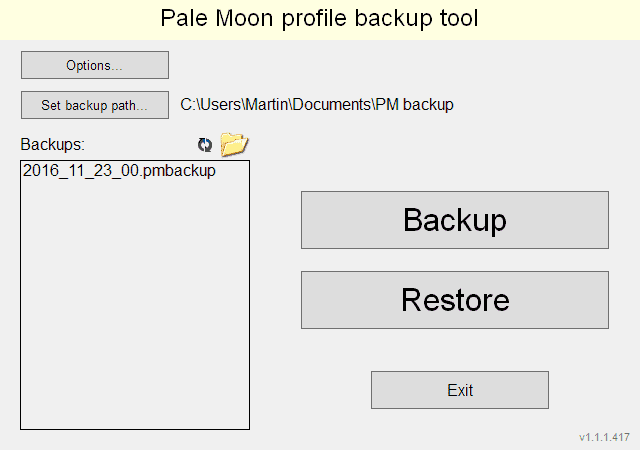 pale moon profile backup tool