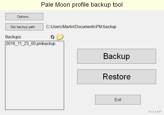 pale moon profile backup tool