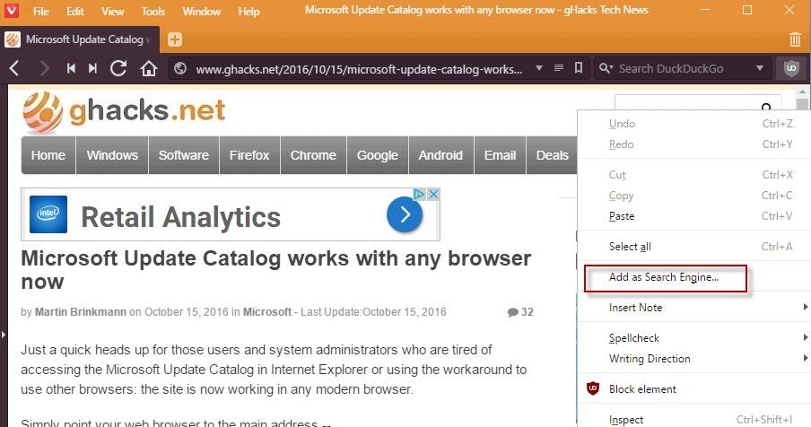 vivaldi add search engine