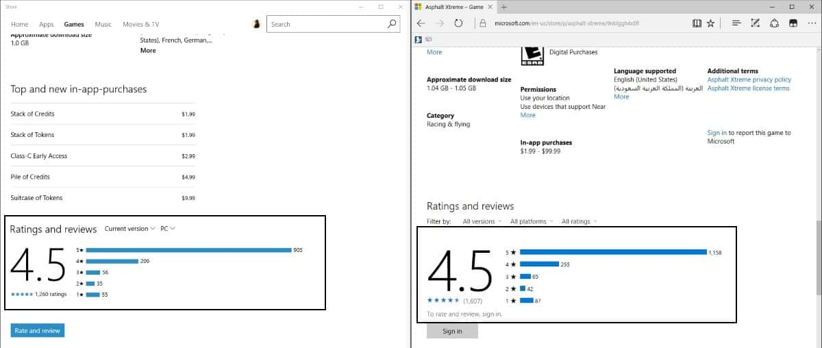 windows store rating review differences