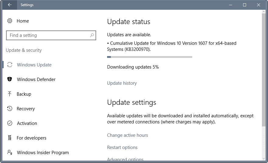 windows updates november 2016
