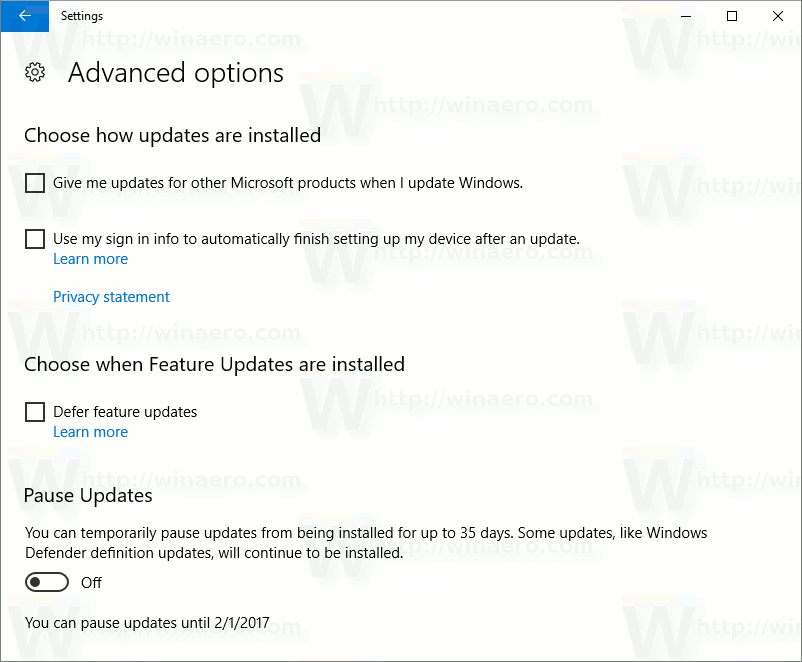 Windows Update advanced options page 14997
