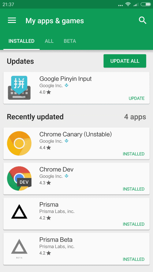 Size of Android app updates reduced significantly