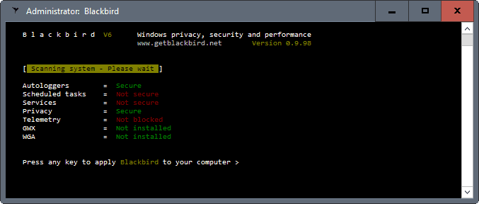 Blackbird: Windows privacy, performance, security tool - gHacks Tech News