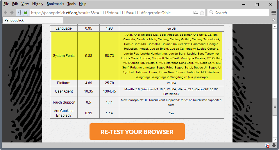 Firefox 52: Better Font Fingerprinting Protection - gHacks